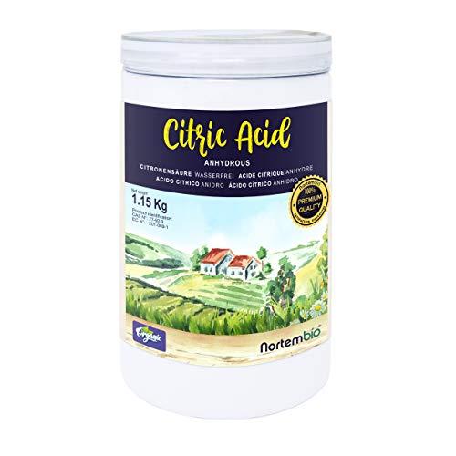 Nortembio Acido Citrico 1,15 kg. Polvere Anidro, 100% Puro. per Produzione Biologica. E-Book Incluso.